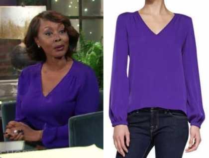 naya benedict, Ptosha Storey, the young and the restless, purple v-neck blouse