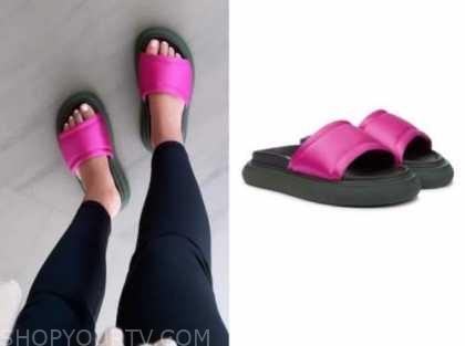 morgan stewart, hot pink slip on slide sandals, instagram fashion