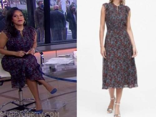sheinelle jones, the today show, floral ruffle dress