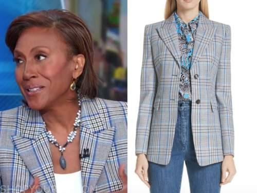 robin roberts, good morning america, blue plaid blazer
