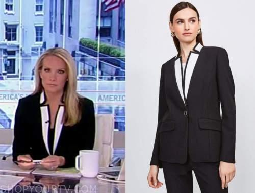 america's newsroom, dana perino, black and white colorblock blazer