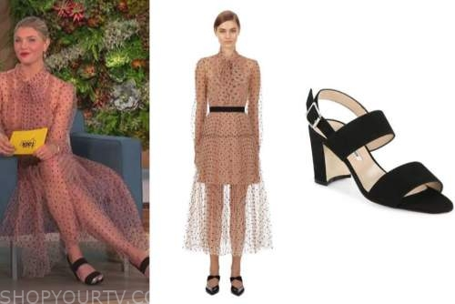 amanda kloots, the talk, tulle dot dress, black sandals