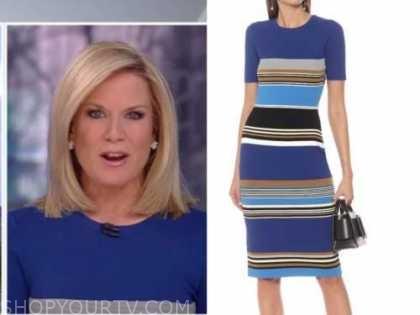 martha maccallum, the story, blue striped sheath dress