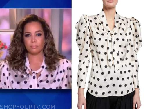 sunny hostin, the view, polka dot tie neck blouse