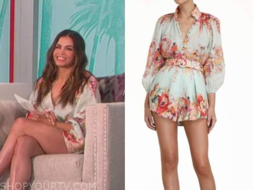 jenna dewan, the talk, mint green floral blouse and shorts