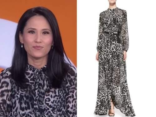 vicky nguyen, the today show, black leopard maxi dress