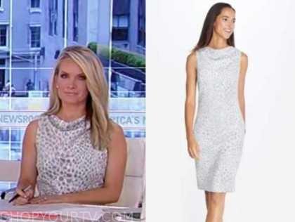 dana perino, america's newsroom, grey animal print cowl neck dress