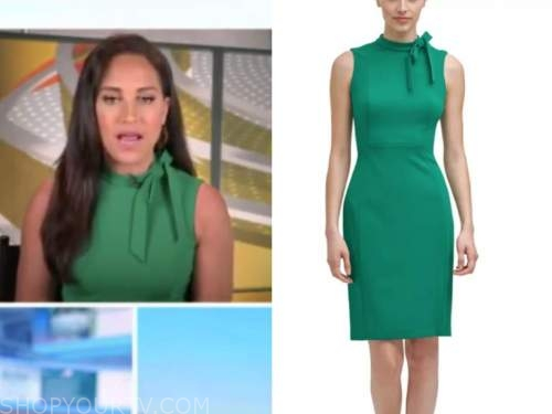 emily compagno, outnumbered, green bow dress