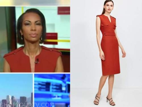 harris faulkner, outnumbered, red utility dress