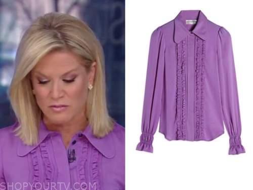 martha maccallum, the story, purple ruffle shirt