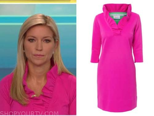 ainsley earhardt, fox and friends, hot pink ruffle shift dress