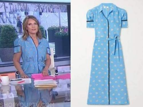 the today show, savannah guthrie, blue floral shirt dress
