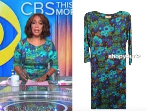 gayle king, cbs this morning, teal blue floral dress