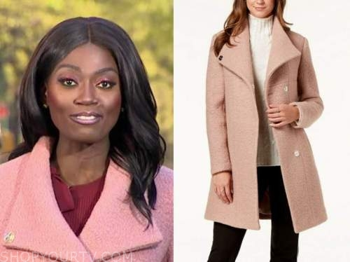 faith abubey, good morning america, pink textured coat