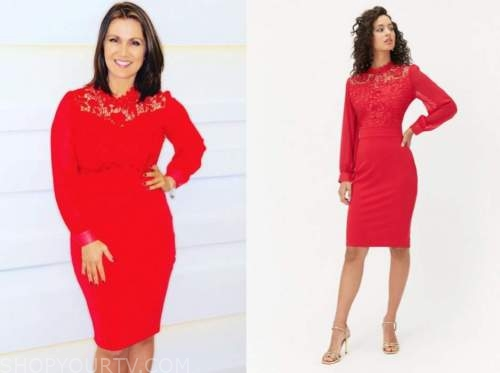 susanna reid, good morning britain, red lace dress