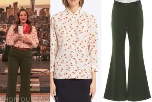 drew barrymore, drew barrymore show, floral blouse, green pants