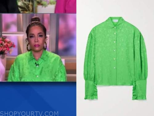 sunny hostin, the view, green jacquard shirt
