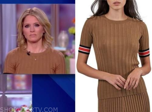 sara haines, the view, brown ribbed knit striped trim short sleeve sweater top