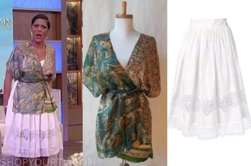 tamron hall, tamron hall show, green wrap top, white lace skirt
