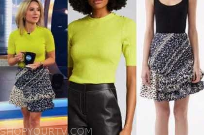 amy robach, good morning america, lime green knit top, ruffle skirt