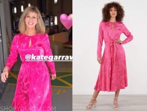 good morning britain, kate garraway, pink jacquard midi dress