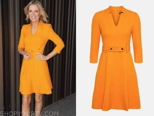 good morning britain, orange belted dress, charlotte hawkins