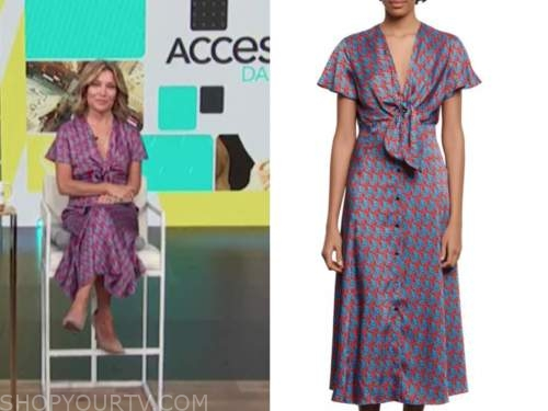 kit hoover, access daily, access hollywood, red and blue printed knot midi dress