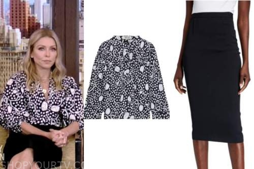 live with kelly and ryan, kelly ripa, black and white floral dot blouse, black pencil skirt