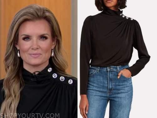 jillian mele, fox and friends, black button shoulder drape blouse