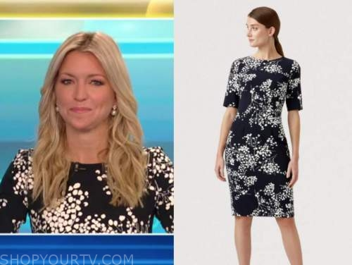 ainsley earhardt, fox and friends, navy blue and ivory floral dress