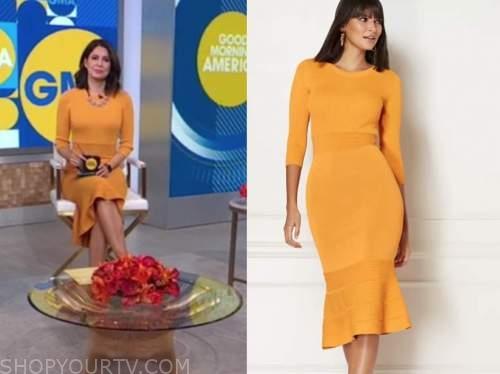 cecilia vega, good morning america, orange yellow ribbed knit dress