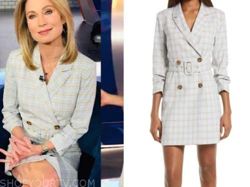 amy robach, good morning america, blue check blazer dress