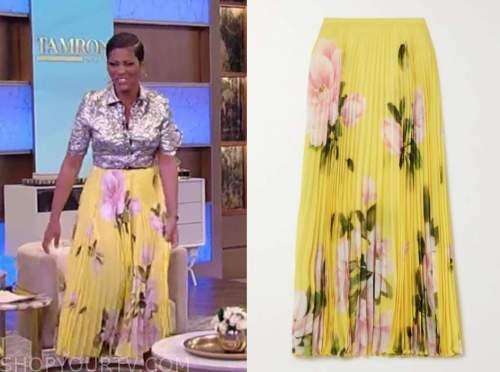 tamron hall, tamron hall show, yellow floral pleated midi skirt
