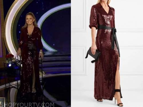 live with kelly and ryan, kelly ripa, burgundy sequin gown, dress, oscars dress