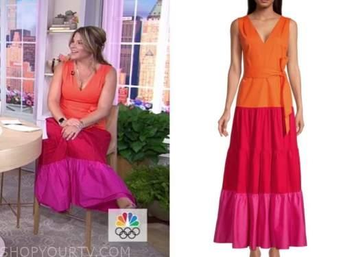 jenna bush hager, the today show, hoda and jenna, pink and orange colorblock dress