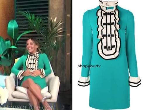 lilliana vazquez, E! news, daily pop, teal green bow ruffle dress
