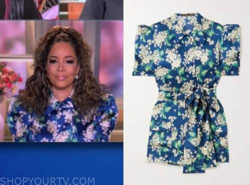 sunny hostin, blue floral satin collar blouse, the view