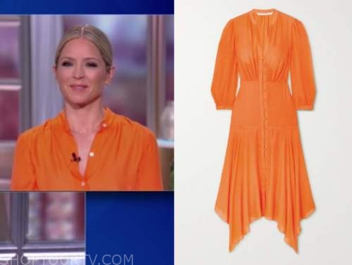 sara haines, the view, orange midi shirt dress
