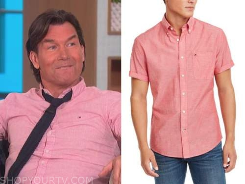jerry o'connell, the talk, pink short sleeve shirt
