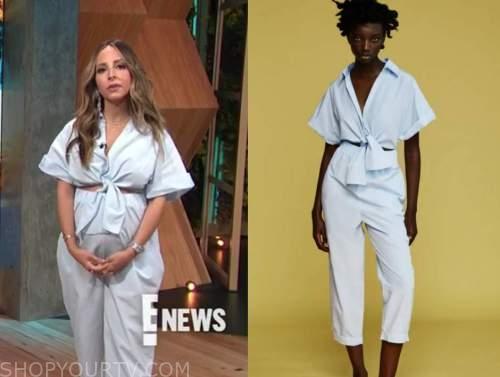 lilliana vazquez, E! news, daily pop, blue knot cutout jumpsuit