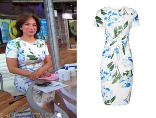michelle mller, cbs this morning, blue and white floral sheath dress
