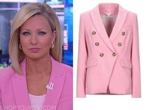 america reports, pink double breasted blazer, sandra smith