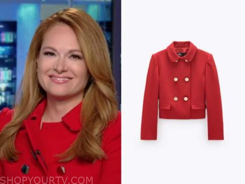 gillian turner, america reports, red double breasted jacket