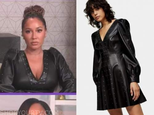adrienne bailon, the real, black leather studded dress