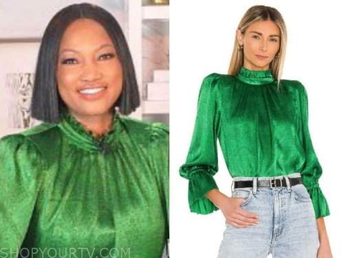 garcelle beauvais, the real, green satin blouse