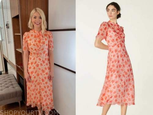 this morning, holly willoughby, pink floral midi dress