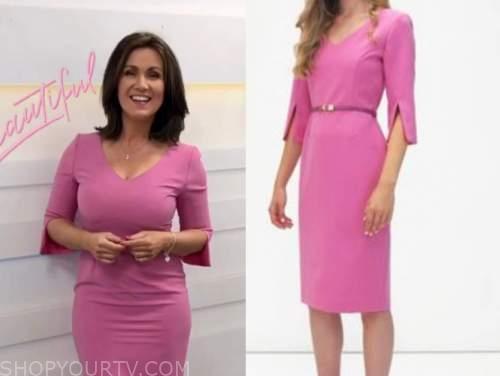 susanna reid, good morning britain, pink split sleeve pencil dress
