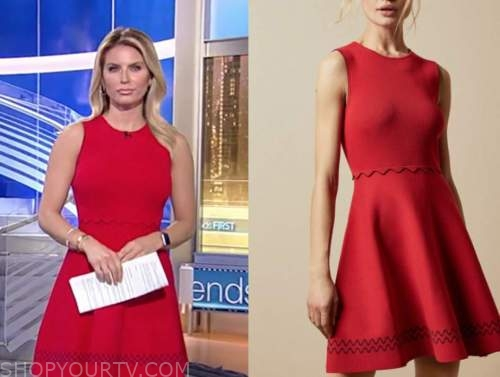ashley strohmier, fox and friends, red knit scallop dress