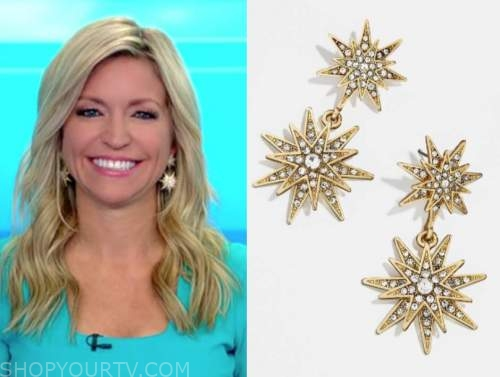 ainsley earhardt, fox and friends, gold star earrings
