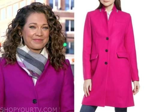 good morning america, ginger zee, pink coat